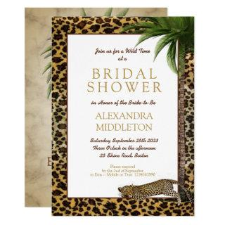 Leopard Animal Print Elegant Palm Bridal Shower Invitation