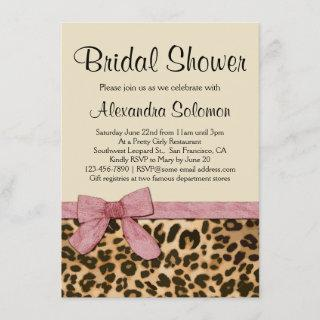 Leopard Print Pink Bow Bridal Shower Invitations