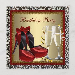 Leopard Red High Heel Shoes Birthday Party Invitations