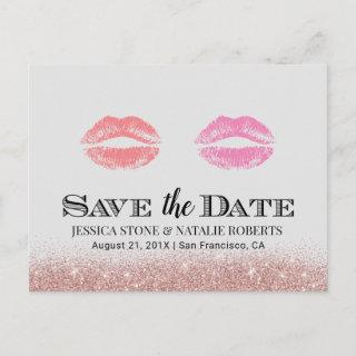 Lesbian Gay Wedding Double Kisses Save the Date Announcement Postcard