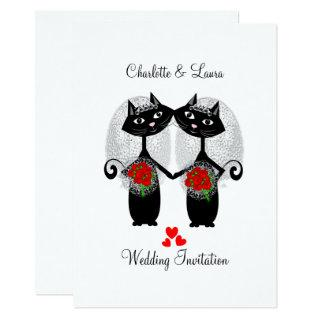 Lesbian Same-Sex Marriage Cool Cats Wedding Invitations