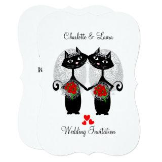 Lesbian Same-Sex Marriage Cool Cats Wedding Invitation