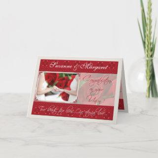 Lesbian Wedding Congratulations with Red Roses Card