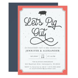 Let's Pig Out Coral Navy I Do BBQ Engagement Party Invitations