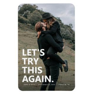Let's Try This Again | Casual Save the Date Photo Magnet