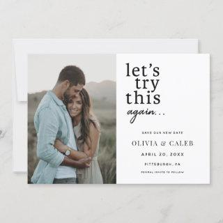 Let's Try this Again Change the date Wedding Invitation