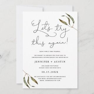 Let's Try This Again Rustic Greenery Wedding Save The Date