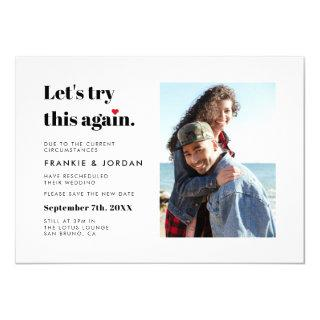Lets Try This Again Wedding Change The Date Photo Invitations