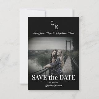 LGBT Simple Chic Minimalist Classic Photo Engaged Save The Date
