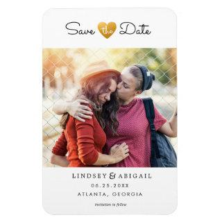 LGBTQ Gold Heart Save the Date with Photo Magnet