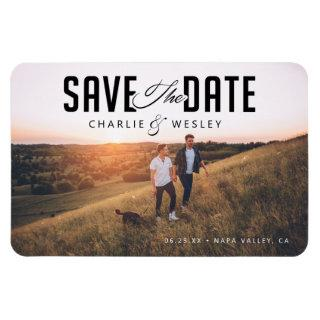 LGBTQ Modern Save the Date with Photo Magnet