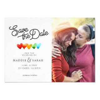 LGBTQ - Save the Date Script with Photo Magnetic Invitations