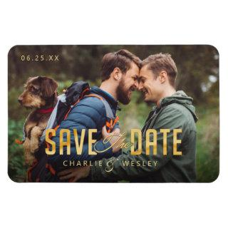 LGBTQ Simple Traditional Save the Date with Photo Magnet
