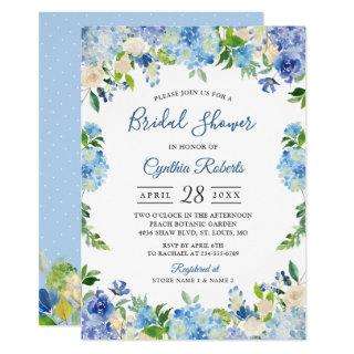 Light Blue Hydrangeas Floral Wreath Bridal Shower Invitations