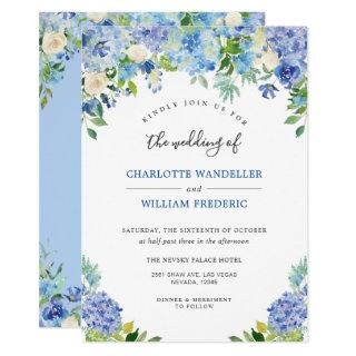 Light Blue Hydrangeas Greenery Watercolor Wedding Invitations