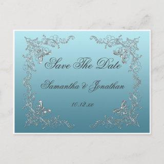 Light Blue Ornate Silver Swirls Save The Date Announcement Postcard