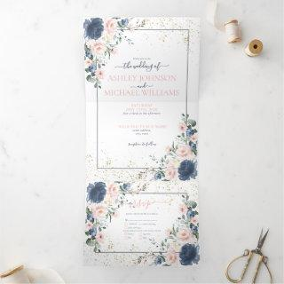 Light Dusty Blue Blush Pink Gold Floral Wedding Tri-Fold Invitations