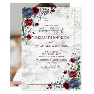 Light Dusty Blue Burgundy Floral Photo Wedding Invitation