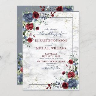 Light Dusty Blue Burgundy Gold Floral Wedding Invitations