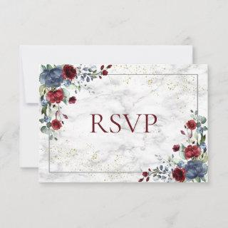 Light Dusty Blue Burgundy Gold Wedding RSVP