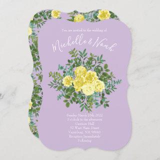 Light Yellow & Lilac Purple Rose Floral Wedding Invitation
