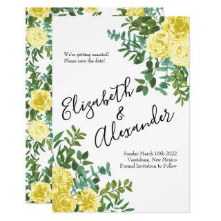 Light Yellow Peony Rose Floral Wedding Save Date Invitations