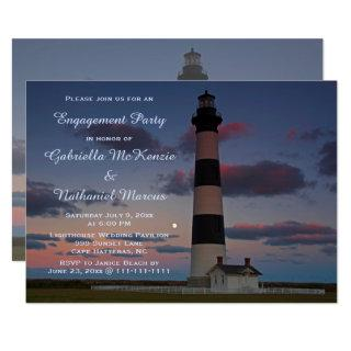 Lighthouse Full Moon Sunset OBX Engagement Party Invitation