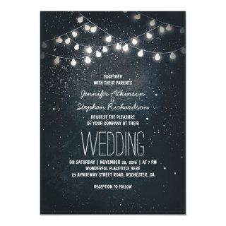 Lights and Night Stars Vintage Elegant Wedding Invitation