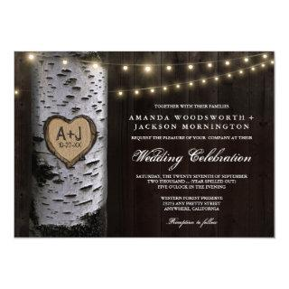 Lights + Carved Birch Tree Wedding Invitations