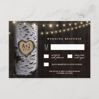 Lights + Carved Birch Tree Wedding RSVP Cards