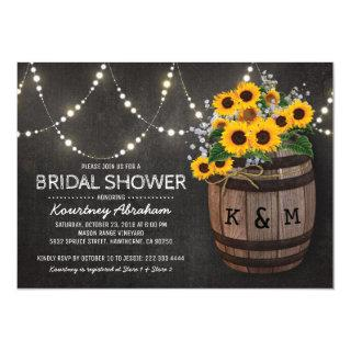 Lights Rustic Vineyard Sunflower Bridal Shower Invitations