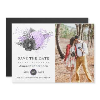 Lilac and Charcoal Floral Wedding Photo Magnetic Invitations