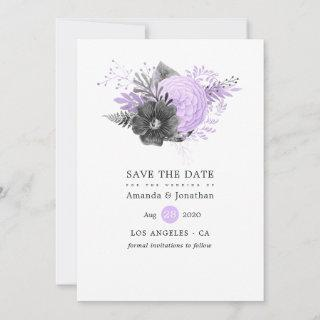 Lilac and Charcoal Floral Wedding Save The Date