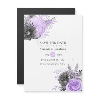 Lilac and Charcoal Floral Wedding Save the Date Magnetic Invitations