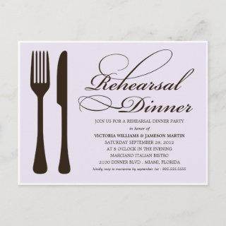 LILAC & BLACK FLATWARE | REHEARSAL DINNER INVITATION POSTCARD