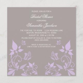 Lilac Butterfly Floral Bridal Shower Invite