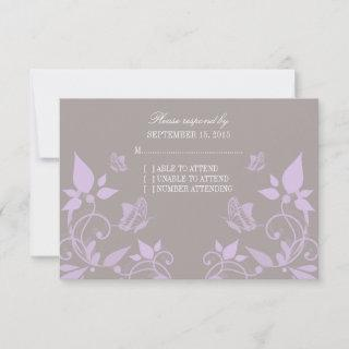 Lilac Butterfly Floral Response Card