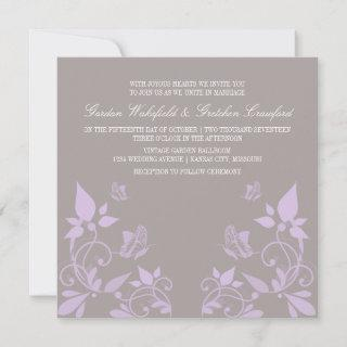 Lilac Butterfly Floral Wedding Invite