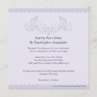 Lilac Butterfly Frill Wedding Invitations