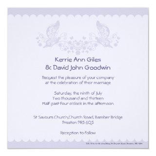 Lilac Butterfly Frill Wedding Invitation