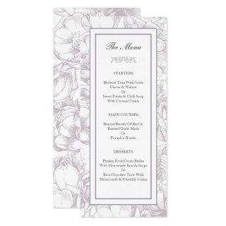 Lilac & Grey Feminine Wedding Party Menu Card