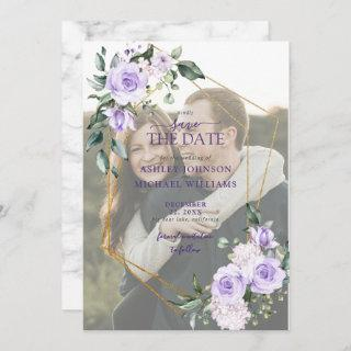 Lilac Lavender Vellum Overlay Photo Save the Date