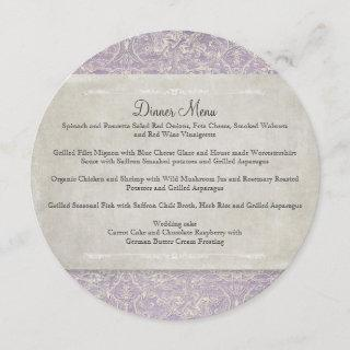 Lilac n Gray Vintage French Regency Lace Etched Menu