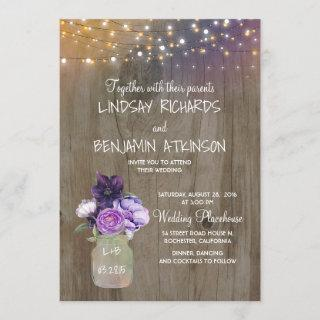 Lilac Plum Purple Floral Mason Jar Rustic Wedding Invitations