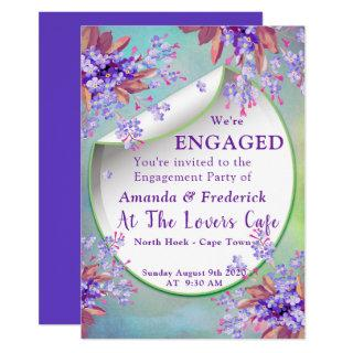 Lilac Purple Forget-me-nots Engagement Invitation