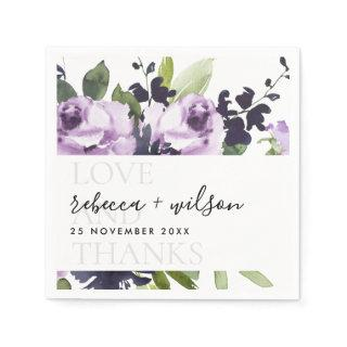 LILAC PURPLE ROSE FLORAL LOVE AND THANKS WEDDING NAPKINS
