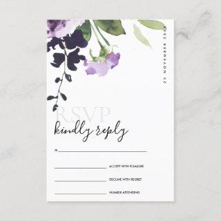 LILAC PURPLE ROSE FLORAL WATERCOLOR WEDDING RSVP ENCLOSURE CARD