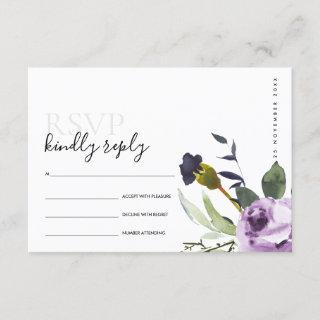 LILAC PURPLE ROSE PEONY FLORAL BUNCH WEDDING RSVP ENCLOSURE CARD