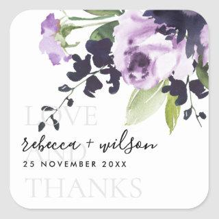 LILAC ROSE PEONY FLORAL LOVE AND THANKS WEDDING SQUARE STICKER