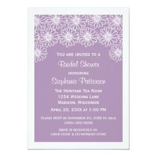 Lilac Whimsical Daisies Bridal Shower Invite